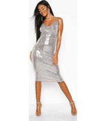 metallic sequin bow midi bodycon dress, silver