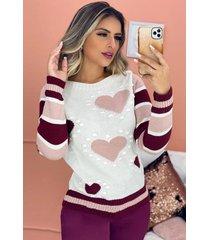 blusa tricot manga longa listrada detalhe coração