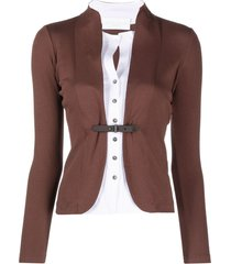 fabiana filippi buckle-fastening fitted jacket - brown