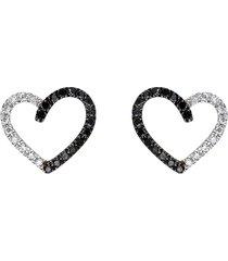 orecchini a lobo cuore con diamanti bianchi e neri 0,06 ct per donna