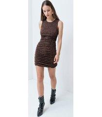 motivi vestito lurex con arricci fantasia animalier donna marrone