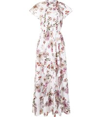 adam lippes floral shirred dress - white