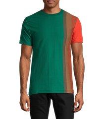 french connection men's gradient stripe organic cotton t-shirt - antique green - size m