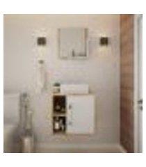 conjunto para banheiro gabinete com cuba q32 e espelheira soft 500 carvalho com branco