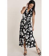 vestido chemise feminino midi estampado floral sem manga off white