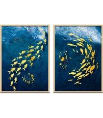 quadro 67x100cm oppen house urak oh3 peixe dourado decorativo moldura natural