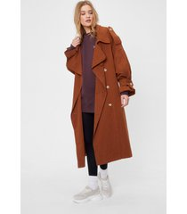 womens come over-sized here belted trench coat - chocolate