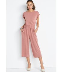 maurices womens 24/7 pink french terry reversible jumpsuit red