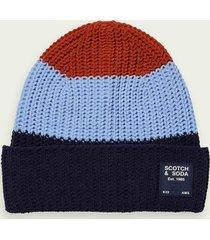 scotch & soda colour block knitted beanie