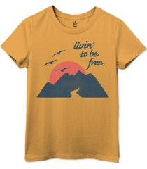 junk food women's cotton livin to be free crewneck t-shirt