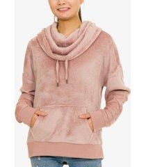 hippie rose juniors' plush funnel-neck sweatshirt