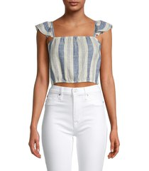 alice + olivia by stacey bendet women's celestia linen-blend cropped top - cream blue - size m