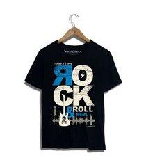 camiseta rock in roll mandrac preta