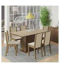 conjunto sala de jantar madesa ohana mesa tampo de madeira com 6 cadeiras rustic/crema/pérola