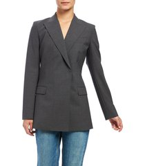 women's theory buttonless double-breasted stretch good wool blazer