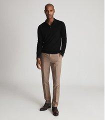 reiss trafford - merino wool polo shirt in black, mens, size xxl