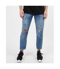 calça de sarja masculina dad azul médio