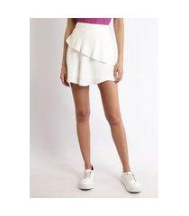 short saia feminina cintura alta com camadas off white