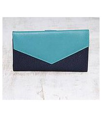 leather wallet, 'power chic in blue' (india)