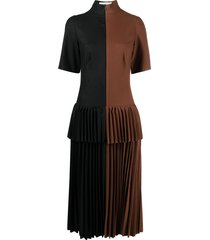 atu body couture two-tone pleated dress - brown