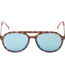 carrera women's 53mm faux tortoiseshell round sunglasses - tortoise blue