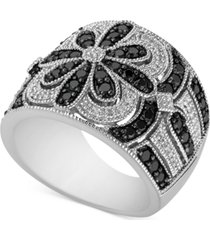 diamond floral wide statement ring (1 ct. t.w.) in sterling silver