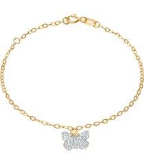 bracciale in oro giallo con ciondolo farfalla e strass bianchi per bambini
