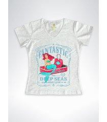 camiseta feminina gola v surf cool tees sereias em conservas mescla