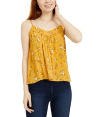 hippie rose juniors' printed crochet-trimmed swing tank