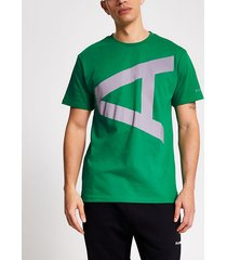 river island mens arcminute green reflective a print t-shirt