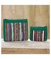 cotton blend cosmetic bags, 'exotic lisu in green' (pair) (thailand)