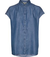 blouses denim blouses short-sleeved blå esprit casual