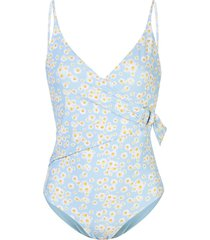 onia lila wrap-style swimsuit - blue bell