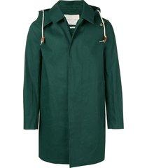 mackintosh cedar bonded short hooded coat - green