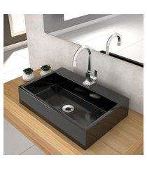 cuba de apoio p/banheiro compace florenza q550w retangular preta