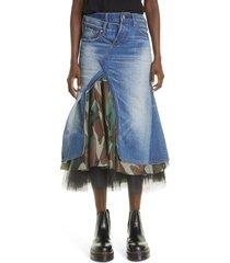 women's junya watanabe camo denim tulle trumpet skirt, size small - blue