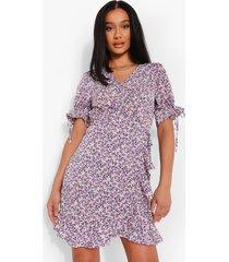 bloemenprint wikkel jurk, purple