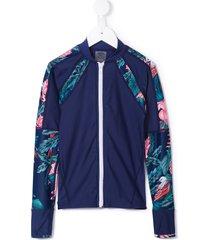 duskii girl tropical print swim top - blue