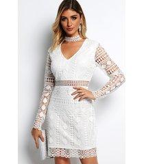 blanco escote en v manga larga mini longitud encaje vestido