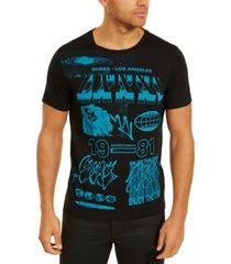 guess men's pop blue graffiti graphic t-shirt