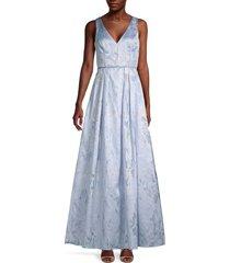 aidan mattox women's metallic brocade gown - light blue - size 0