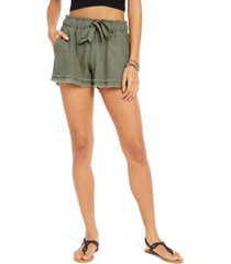 rewash juniors' tie-front raw-edged shorts