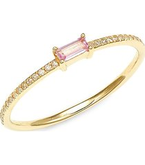 saks fifth avenue women's 14k yellow gold, pink sapphire & diamond ring - size 7