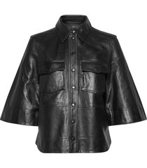 lamb leather blouse lange mouwen zwart ganni