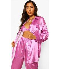 oversized satijnen blouse, pink