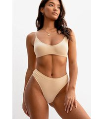 womens seamless is more ribbed high-leg thong - beige