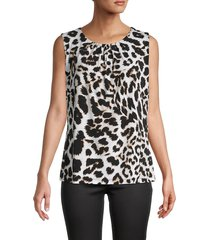 calvin klein women's pleated leopard sleeveless top - white multicolor - size m