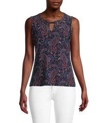 tommy hilfiger women's paisley-print sleeveless top - midnight scarlet multicolor - size m