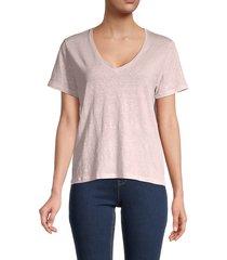 majestic filatures women's stretch-linen boxy t-shirt - marine - size 3 (m)
