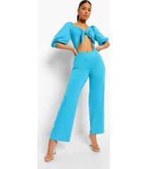 wide leg jumpsuit met strik en uitsnijding, blue